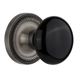 Nostalgic - Nostalgic Mortise-Rope Rose-Black Porcelain Knob-Antique Pewter (NW-710427) - Blending rich detail and subdued refinement, the Rope Rosette in antique pewter captures a style that has been a favorite for centuries. Add our timeless, kiln-fired Black Porcelain Knob to create a sophisticated, yet classic look. All Nostalgic Warehouse knobs are mounted on a solid (not plated) forged brass base for durability and beauty.
