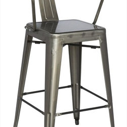 Chintaly Imports - Alfresco Cold Roll Steel Bar Stool in Gun Metal - Set of 4 - Alfresco Cold Roll Steel Bar Stool in Gun Metal - Set of 4