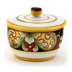 Artistica - Hand Made in Italy - Deruta Vario: Round Jar with Lid - Cotton Balls, Sugar, Sauces etc... - Deruta Vario Collection: