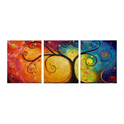 "Fabuart - ""Colors of the Wind"" - Abstract Textured Artwork - 60 x 24in - This beautiful Art is 100% hand-painted on canvas by one of our professional artists. Our experienced artists start with a blank canvas and paint each and every brushstroke by hand."