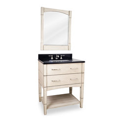 "Contemporary Slab Drawer Legged Vanity Set, White - This set consists of 30-1/2"" wide solid wood vanity with satin nickel hardware, preassembled granite top, and matching beveled glass wood framed mirror. Vanity includes two fully working drawers and open bottom shelf for ample storage. Vanity comes preassembled with a 2.5cm black granite top with 4"" tall backsplash, 16-5/16"" x 11-7/16"" rectangle bowl, and cut for 8"" faucet spread."