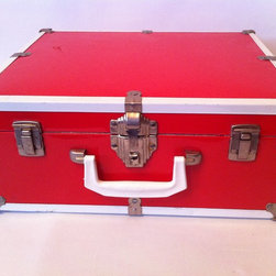 "Mid Century Modern Furniture & Accessories - 1940's vintage doll steamer trunk luggage in red and white metal with beautiful Art Deco styled hardware. Measures: 15 3/4"" tall X 6 1/2"" deep and 12 1/2"" wide. Includes a white hard plastic handle."
