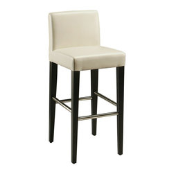 """Pastel Furniture - Pastel Furniture Equinoii 26 Inch Barstool in Black - This beautifully made contemporary barstool has a simple yet elegant design that is perfect for any decor. An ideal way to add a touch of modern flair to any dining or entertaining area in your home. This barstool features a wood frame with sturdy legs finish in ballarat black with a foot rest in stainless steel. The padded seat is upholstered in bonded white leather offering comfort and style. Available in 26"""" counter height or 30"""" bar height."""