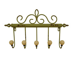 Enchante Accessories Inc - Distressed Metal Coat Rack with 5 Large Iron Hooks, Light Green - Add elegance and a sense of European sophistication to the wall in your entry way with this ornate scrolled metal coat rack.  The distressed metal coat rack with 5 large iron hooks is crafted from durable metal and features a distressed, weathered finish with scrolled detailing along the top of the bar, decorative cut out finials on each end, and five large scooped hooks finished with rounded balls on the end to prevent the iron hooks from doing damage to coats, scarves, or any other garments that you choose to hang.