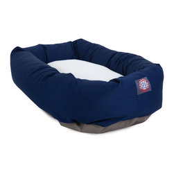 """Majestic Pet Products - 24"""" Blue and Sherpa Bagel Bed - Give your pet 360 degrees of comfort with Majestic Pet Products 24"""" Blue Sherpa Bagel Pet Dog Bed. Designed for both comfort and style, the bolster is made of a durable 7oz. Poly/cotton Twill with a Sherpa center cushion. The entire bed is stuffed with Super Premium High Loft Polyester Fiber Fill. The base of the bagel bed is made of a heavy duty, water proof 300/600 Denier to prevent the bed from sliding and to keep it safe from any spills or accidents. Our bagel beds are easy to clean - just place the entire bed in the washer on gentle cycle and air dry."""
