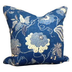 Made by PillowFever - Blue Cotton Pillow Cover with Flower Print and White Accent Pipping. - Pillow insert is not included