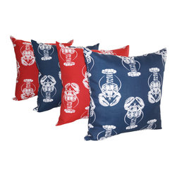 Land of Pillows - Lobster Oxford Navy & Lobster Rojo Red Nautical Outdoor Throw Pillows, Set of 4 - Show some lobster love with this fun set of nautical decorative pillows for your decor. This set of four throw pillows features the whimsical white lobster pattern on each, but alternating between a bright red and a stately navy background. These square pillows are crafted from a durable fabric that is stain, fade and water resistant, so they could even go with you to sea!