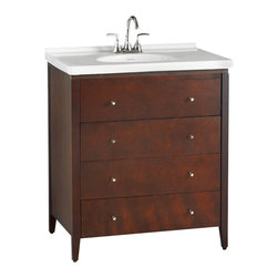 "American Standard - Cascada 30"" Three Drawer Wood Vanity in Tobacco - American Standard 9437.200.310 Cascada 30"" Three Drawer Wood Vanity in Tobacco. The Cascada Furniture Collection from American Standard combines traditional elements that foster a timeless design. The Cascada collection comes in two finishes; Tobacco and Espresso. The collection includes a birch vanity, mirror with drop-down shelf, and floating shelf. For added appeal combine the Cascada vanity with the Newbern vanity top's fine fire clay construction.American Standard 9437.200.310 Cascada 30"" Three Drawer Wood Vanity in Tobacco, Features:30 in. W Vanity provides generous storage space"