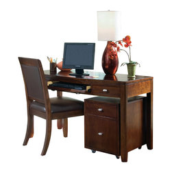 American Drew - American Drew Tribecca 3-Piece Home Office Set with Chair in Root Beer Color - The Tribecca mixes it up with modern, Art Deco, and Asian influences. Lighter scaled, with classic clean lines and pared down forms, Tribecca's inviting textures, rich wood tones and nickel finish hardware could be just the fresh look you've been trying to imagine for the new retirement condo on the shore or a trendy city loft.