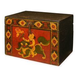 China Furniture and Arts - Hand-Painted Tibetan Elmwood Treasure Box - Decorated with exuberant colors, the exotic Tibetan furniture art is manifested in this treasure box. The cheerful color represents the personality of Tibetan people, who are passionate about life.