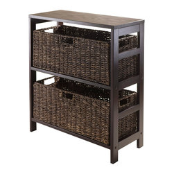 Winsome - Granville 3-pc Storage Shelf with 2 Large Baskets in Dark Espresso - Granville 3-pc Storage Shelf with 2 Large Baskets, Dark Espresso Finish