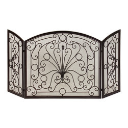 Large Old World Iron Scroll Fire Screen - *Simple elegance blends with functionality in this beautiful wrought iron fireplace screen.