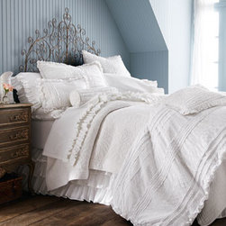 "Amity Home - Amity Home French Ruffle Queen Sheet Set - White on white provides a perfect canvas for a play of textures and subtle patterns in this collection of bed linens. Imported. Pieced duvet covers and accessories have netting insets. Ruffled dust skirts have an 18"" drop. Curtains with vertical ru..."