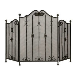 Iron Fireplace Screen - Traditional iron fireplace screen with intricate metalwork detail. Tri-fold.