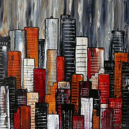 """""""Abstract City No 15"""" Artwork - A colorful textured abstract cityscape. A splash of color and texture for your livings space. Painted onto 9mm mdf panel with batons on the reverse to float it away from the wall creating a stylish contemporary focal point."""