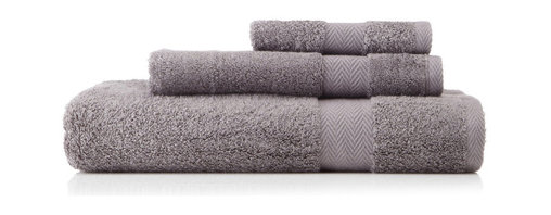 Nine Space - Pima Cotton Chevron Border Towel Set, Slate - These basics are anything but. Tailored from extra-long, staple American pima cotton fibers, these cotton terry towels are super soft and ultra absorbent. A subtle chevron border gives them a certain spa-like appeal that will turn your bath into a luxurious retreat.