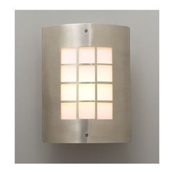 """PLC Lighting - Turin Outdoor  Wall Sconce in Satin Nickel - Features: -Outdoor one light wall sconce. -Satin nickel finish. -Die cast aluminum construction. -Opal acrylic glass shade. -Suitable for wet location. Specifications: -Accommodates (1) 60W A19 bulb (not included). -Overall dimensions: 11.75"""" H x 9.25"""" W x 4"""" D."""