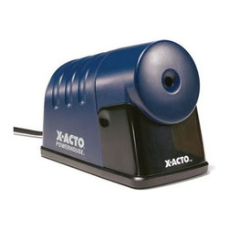 Alvin and Company - BOSTON X-ACTO PowerHouse Electric Pencil Shar - A pencil saver feature that prevents over sharpening makes this electric pencil sharpener a hard working addition to any office. It is designed for use with standard size composite and recycled pencils, and features a heavy duty motor and a quiet operation. For hard-to-sharpen composite and recycled pencils. For standard size wood pencils. Quiet operation. Pencil-Saver™ prevents over sharpening. Auto-Reset™ eliminates motor burnout. Heavy-duty motor designed for durability. 2-Year limited warranty. Pictured in Blue. 39 in. L x 4 in. W x 4 in. H (11.94 lbs.)
