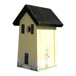 Heartwood/Garden Artisans - Birdie Abode, Cottage Garden, Without Birdhouse Pole - While the construction is the same on all these birdhouses, each is hand painted or stained giving each their own character.   Due to the nature of individually hand painting, houses may vary slightly from photos.