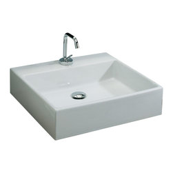 St. Thomas Creations - St. Thomas Creations Miro Box 50 Above Counter Wash Basin with Faucet Hole - St. Thomas Creations 1350.001.01 Miro Box 50 Above Counter Wash Basin with Faucet Hole, White