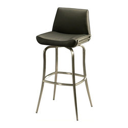 """Pastel Furniture - Pastel Degorah Barstool, 30 Inch - This handsomely crafted swivel Stainless steel barstool features a quality metal frame with sturdy legs and foot rest. The padded seat is upholstered in PU black offering comfort and style. Available in 26"""" counter height or 30"""" bar height."""