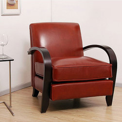 None - Bloomington Leather Chair Cognac - This cognac, leather chair from Bloomington provides a sophisticated accent to your room or home. The frame is sturdily constructed with a dark walnut finish, and the separate seat cushion features premium, piped edging for added character.