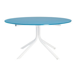 Knoll - Lovegrove Round Table - With its sky-blue glass top and cloud-white metal base, this light, breezy table would look seamless in a sunny breakfast nook or under a playful pendant lamp. You can keep a fresh and simple color palette, or surround it with a rainbow of perky primary hues.