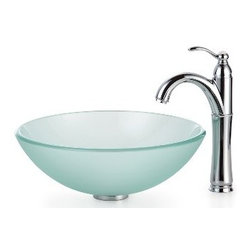 Kraus - Kraus Frosted Glass Vessel Sink and Riviera Faucet Chrome - *Add a touch of elegance to your bathroom with a glass sink combo from Kraus