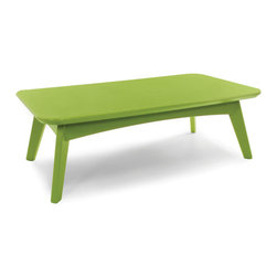 Loll Designs - Satellite Cocktail Table Rectangle, Leaf Green - In the context of outdoor lounging, a Loll Satellite accent table is a recycled polyethylene object placed into orbit around humans resting in Loll Furniture. Unlike the moon, the Loll Satellite Table actually rotates in conjunction with the Earth and her inhabitants, at just over 1,000 miles per hour, but appears to be sitting still. We think it's time for you to have your very own Satellite... perfect for star gazing on black nights with warm breezes and cold drinks. All Loll Satellite Tables are made with heavy 1 inch thick 100 percent recycled plastic.
