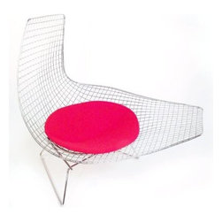 "The ""Joan"" Chaise in Stainless Steel with Red Wool Seat Pad - The Joan Chaise in Stainless Steel with Red Wool Seat Pad makes modern art out of afternoon lounging. Crafted with a durable welded steel rod frame with a standout grid pattern, this contemporary lounge chair boasts an abstract, undulating shape topped with a cozy red wool cushion that secures to the chair with lock snaps. Includes 30-day limited manufacturer's warranty."