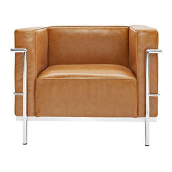 LexMod - Le Corbusier Style LC3 Armchair in Genuine Tan Leather - Urban life has always a quandary for designers. While the torrent of external stimuli surrounds, the designer is vested with the task of introducing calm to the scene. From out of the surging wave of progress, the most talented can fashion a force field of tranquility.