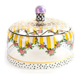 Striped Awning Cake Dome   MacKenzie-Childs - Storybook style that's sunny, smart, and bold. Awning stripes and a garland of roses and greenery, hand-painted on glass, decorate this extraordinarily romantic cake dome, with accents of Courtly Checks, gold lustre, and sprightly dots. Coordinating stand provides a proper pedestal for your finest baked creations.