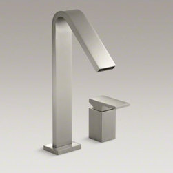 KOHLER - KOHLER Loure(R) deck-mount high-flow bath faucet - Combining a sleek profile with enhanced utility, Loure introduces a classically modern look to your bath decor. This strikingly contemporary bath faucet offers a minimalist design with clean, smooth lines. A single-control remote lever handle provides com