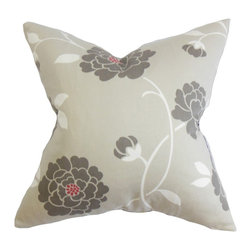 "The Pillow Collection - Graziella Floral Pillow Dove Gray - This floral throw pillow reflects a homey vibe with its muted color palette. A dove gray background displays a floral pattern in a deeper gray hue with hints of white and red shades. Toss this square pillow anywhere inside your home where it lacks texture and comfort. Constructed with high-quality 100% cotton fabric, this 18"" pillow suits most settings and decor themes. Hidden zipper closure for easy cover removal.  Knife edge finish on all four sides.  Reversible pillow with the same fabric on the back side.  Spot cleaning suggested."