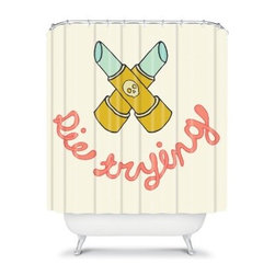 DENY Designs Wesley Bird Die Trying Shower Curtain - The DENY Designs Wesley Bird Die Trying Shower Curtain doles out some life lessons in style. Made from woven polyester, this shower curtain is sure to inspire with its colorful designer print. Lather up in style!About DENY DesignsDenver, Colorado based DENY Designs is a modern home furnishings company that believes in doing things differently. DENY encourages customers to make a personal statement with personal images or by selecting from the extensive gallery. The coolest part is that each purchase gives the super talented artists part of the proceeds. That allows DENY to support art communities all over the world while also spreading the creative love! Each DENY piece is custom created as it's ordered, instead of being held in a warehouse. A dye printing process is used to ensure colorfastness and durability that make these true heirloom pieces. From custom furniture pieces to textiles, everything made is unique and distinctively DENY.