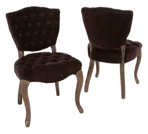 Great Deal Furniture - Violetta French Design Dark Brown Dining Chair (set of 2) - For a French inspired design, look no further than the Violetta tufted velvet fabric dining chairs. This set of two chairs offers ample tufting, a solid weathered oak frame, and intricately carved wooden legs.