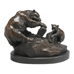 AA Importing - Bear & Cub Sculpture in Bronze on Black Marbl - Bear and baby bear design. Bronze figure with Black marble base. 11 in. L x 6.25 in. W x 9 in. H