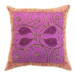 "Banarsi Designs - Ornamental Embroidered Pillow Cover, Set of 2, Amethyst - The ""Ornamental Embroidered Pillow Cover"" represents artistic qualities through a very detailed and imaginative Indian embroidered and hand-stitched process known as Cut Dana."