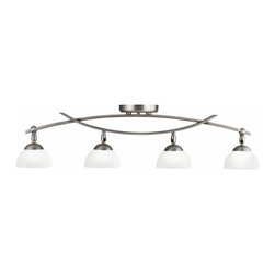"Kichler - Contemporary Bellamy Collection Pewter 4-Light Rail Ceiling Light - Both sleek and contemporary warm and classic the transitional Bellamy Collection features sweeping intersecting arms and classic bowl shapes. Frame comes in a lustrous antique pewter finish matched with flawless satin-etched cased opal glass. This track style 4-light adjustable rail ceiling light is great for general room illumination. Antique pewter finish. Satin-etched cased opal glass. Includes four 50 watt MR16 halogen bulbs. 34 1/2"" wide. 9"" high. 5"" deep.  Antique pewter finish.   Satin-etched cased opal glass.   From the Kichler lighting collection.  Includes four 50 watt MR16 halogen bulbs.   34 1/2"" wide.   9"" high.   5"" deep."