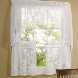 Commonwealth Home Fashions - Rhapsody White 54 x 36-Inch Hydrangea Tailored Two Tier Pair Curtain - - A layered fabric to create a hydrangea on a faux Linen  - 1.5-inch header  - 1.5-inch rod pocket  - 0.5-inch side hems and .5-inch bottom hem  - Pocket Construction: Rod pocket  - Additional Necessary Hardware: Decorative Rod  - Laundry Instruction: Washable Commonwealth Home Fashions - 70515460054036001