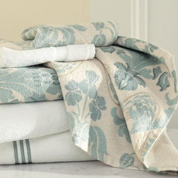 Simonetta Organic Bath Towels - These botanical-pattern hand towels in shades of ice blue, gray and sand would look great in a guest bath. Pair them with striped or solid towels for a complete set.