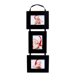 MyBarnwoodFrames - 5x7 Triple Frame Set, 2 Portrait 1 Landscape on Hanging Ribbon - Collage  Picture  Frame  Set-  Three  5x7  Basic  Black  Frames  on  Ribbon          Your  nursery,  child's  bedroom,  or  family  room  deserves  a  photo  display  this  adorable!  Our  multi-opening  frames,  shown  here  in  basic  black  make  a  unique  wall  display  or  the  perfect  gift.  Three  individual  wood  frames  are  connected  by  a  hanging  ribbon.  Just  drape  the  ribbon  over  a  decorative  wall  hook  or  coat  hook.          A  collage  picture  frame  combination  that  allows  you  to  hang  5x7  portraits  both  horizontally  and  vertically.  This  multi-frame  set  includes  two  landscape  openings  and  one  portrait  photo  opening.  Crafted  from  solid  wood,  this  black-painted  frame  includes  three  5x7  frames  connected  on  a  black  hanging  ribbon.  Hand  distressed  edges.