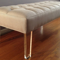 """Mimi Bench - Upholstered bench with diamond tufting and lucite legs.  Shown here in Gaston y Daniella Arhus Gris. Dimensions: 60"""" X 20"""" X 18"""" H.  Custom sizes available upon request."""