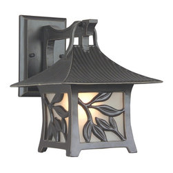 Exteriors - Exteriors Mandalay Traditional Outdoor Wall Sconce - Small X-36-4507Z - Experience the calming effects of nature with the Mandalay Traditional Outdoor Wall Sconce - Small. The anitque bronze finish and organic olive branch styling makes this fixture a welcome ornament in your garden or on your porch. The frosted glass emits a friendly glow that will welcome friends and passersby.