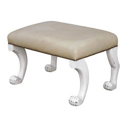 Ajax Ottoman - This ottoman reminds me of the whimsical, iconic work of John Dickinson, with it's funny legs yet wonderfully sophisticated overall look.
