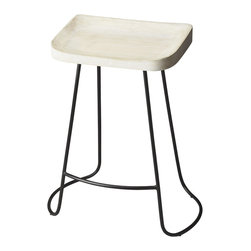 Butler Furniture - Alton Backless Bar Stool - With its neutral colors, white-washed wood seat and wrought iron base, this is a versatile seat that is perfect for a relaxed or a more formal setting.  Strong and classy, this is one bar stool that won't be requesting any backup.