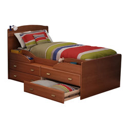 South Shore - South Shore Imagine Kids Twin Captain's Bed in Morgan Cherry Finish - South Shore - Beds - 3576214 - The Imagine Captain's Bed is constructed of engineered wood products in a Morgan Cherry finish. It features an innovation open storage compartment and four large drawers underneath the bed for all the storage your child needs. With a charming look and appeal the Imagine Captain's Bed is sure to fit comfortably in your child's bedroom.