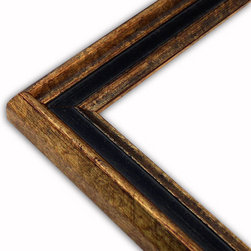 The Frame Guys - Narrow Manchester Black/Gold Picture Frame-Solid Wood, 12x14 - *Narrow Manchester Black/Gold Picture Frame-Solid Wood, 12x14
