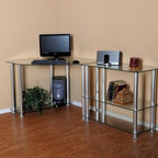 RTA Home & Office - Clear Tempered Glass Corner Computer Desk with Right Extention - This modern looking clear tempered glass corner computer desk has everything you need. With its great design you can put this anywhere in your room to save space. With one side of this desk only needing 40 inches of wall space this desk can fit in those areas where you are trying to clear a door or window. And with (1) 35 inch modular extension table you have all the work space you will need. Whether you have 2 printers or a printer and a scanner there's plenty of room to make it all look great!. Desk dimensions: 73 in. W x 38 in. D x 29.5 in. H