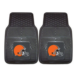 Fanmats - Fanmats Cleveland Browns 2-piece Vinyl Car Mats - A universal fit makes this two-piece mat set ideal for cars, trucks, SUVs and RVs. The officially licensed Cleveland Browns design in true team colors is permanently molded of vinyl for longevity.